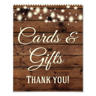 Cards, Gifts, Wedding Sign, Wedding Decor, Rustic Photo Print