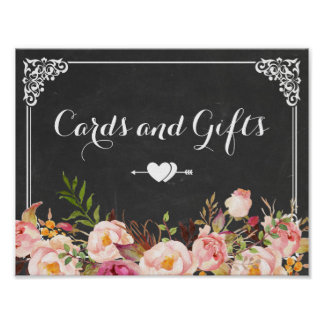 Cards & Gifts Wedding | Vintage Chalkboard Floral Poster