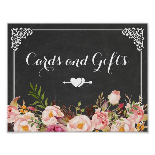 Cards & Gifts Wedding | Vintage Chalkboard Floral