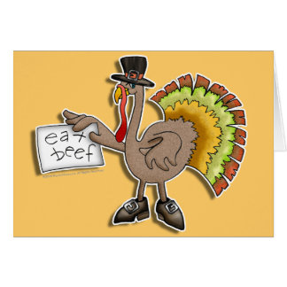 "Cards, Invitations - Thanksgiving Turkey ""Eat Beef"