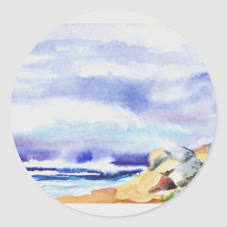 cards,magnet,note pads,stationery,seascapes classic round sticker