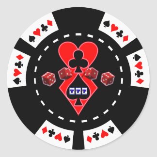 CARDS SLOTS AND DICE POKER CHIP ROUND STICKER
