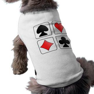 Cards Suits, Diamonds, Spades, Hearts, Clubs Sleeveless Dog Shirt