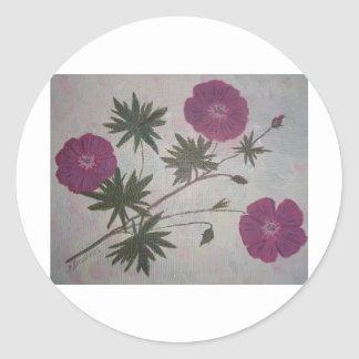 Cards with painted flowers classic round sticker
