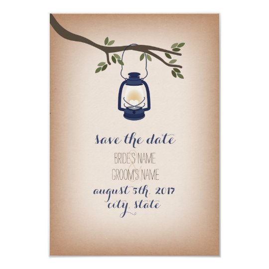 Cardstock Inspired Blue Camp Lantern Save The Date