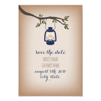 Cardstock Inspired Blue Camp Lantern Save The Date 3.5x5 Paper Invitation Card