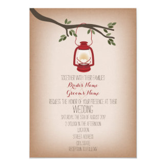Cardstock Inspired Camping Lantern Wedding 5x7 Paper Invitation Card