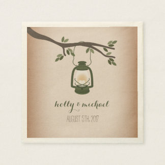 Cardstock Inspired Green Camping Lantern Wedding Paper Napkin
