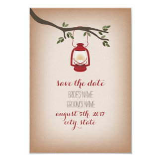 Cardstock Inspired Red Camp Lantern Save The Date 3.5x5 Paper Invitation Card