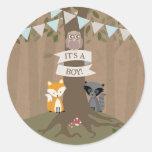 Cardstock Inspired Woodland Baby Shower Boy Round Sticker