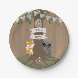 Cardstock Inspired Woodland Boy Baby Shower 7 Inch Paper Plate
