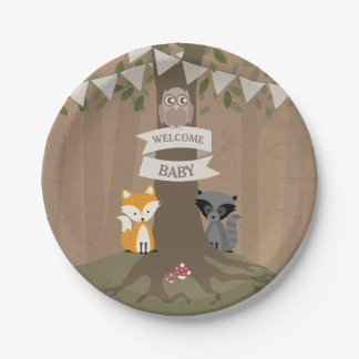 Cardstock Inspired Woodland Neutral Baby Shower 7 Inch Paper Plate