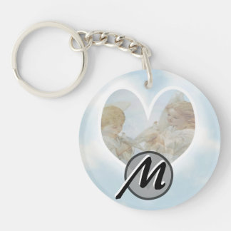 Care and Concern Cherubs with Doves Double-Sided Round Acrylic Key Ring