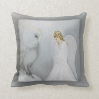Care Guardian Angel and Owl Throw Pillow