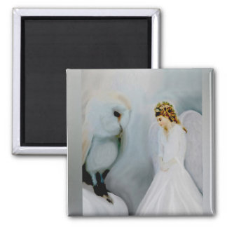 Care Guardian Angel and White Owl by Amelia Carrie Magnet