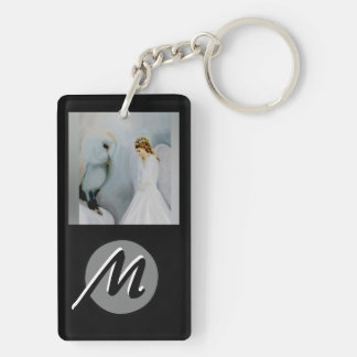 Care Guardian Angel and White Owl Double-Sided Rectangular Acrylic Key Ring