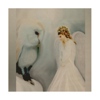 Care Guardian Angel and White Owl Wood Wall Art