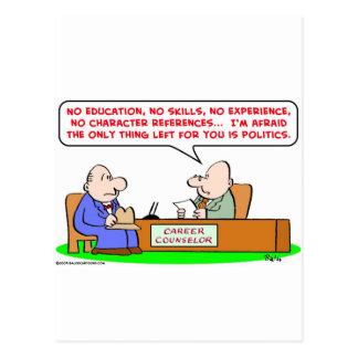 career counselor politics postcard