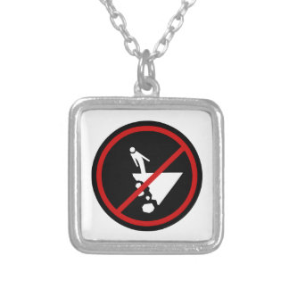 Careful with Crumbling Cliff, Sign, Mexico Square Pendant Necklace