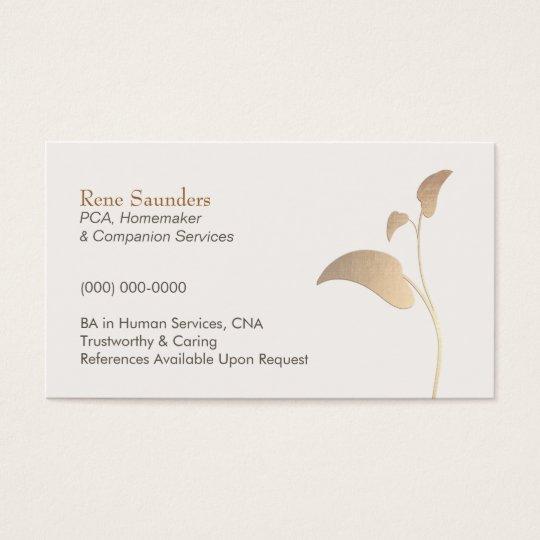 Caregiver and Companion Home Care Nurse Business Card