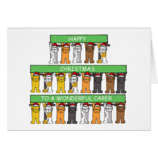 Carer Happy Christmas with cats. Card