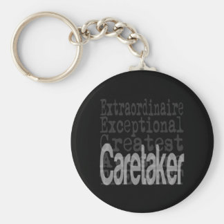 Caretaker Extraordinaire Basic Round Button Key Ring