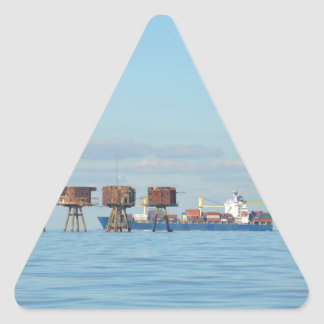 Cargo Ship And Forts Triangle Sticker