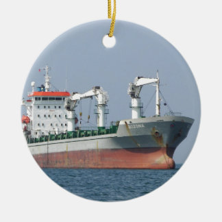 Cargo Ship Bozona Bows Christmas Ornament