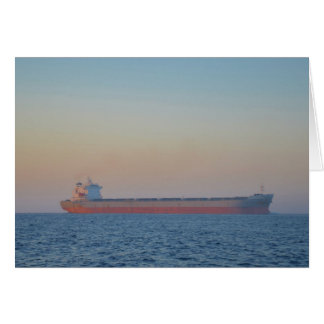 Cargo Ship In A Hazy Dusk Card