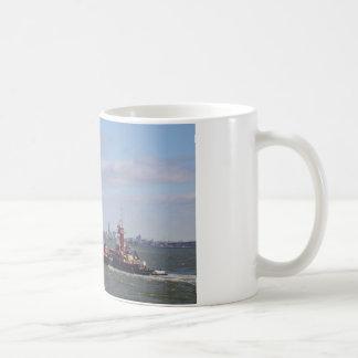 Cargo Ship Near Manhattan Coffee Mug