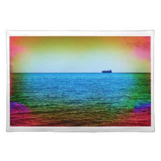 Cargo ship on the horizon placemat