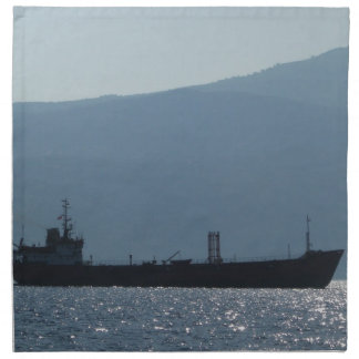 Cargo Ship Silhouetted By The Sun Napkin