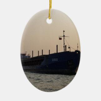 Cargo Ship Sioux Ceramic Oval Decoration