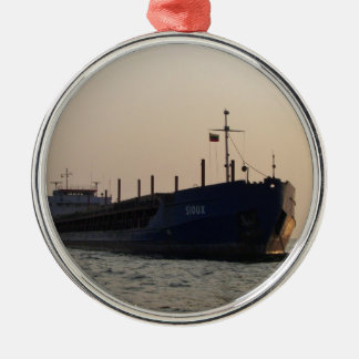 Cargo Ship Sioux Silver-Colored Round Decoration
