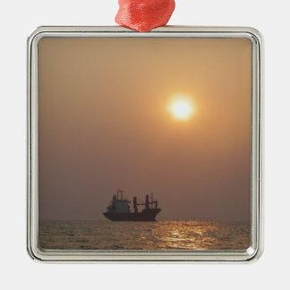 Cargo Ship Under A Hazy Sun Christmas Ornament