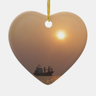 Cargo Ship Under A Hazy Sun Christmas Ornament