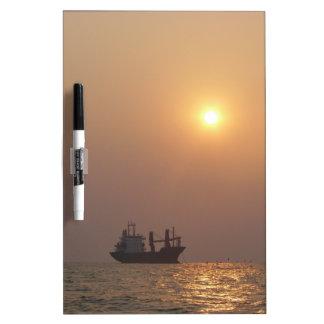 Cargo Ship Under A Hazy Sun Dry Erase Board