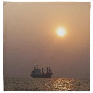 Cargo Ship Under A Hazy Sun Napkin
