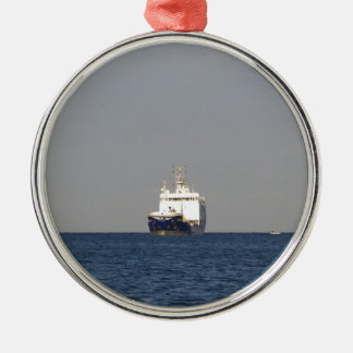 Cargo Ship Zefyros In The Distance Silver-Colored Round Decoration