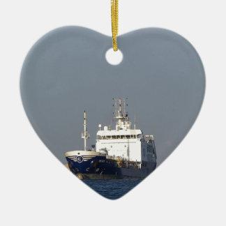 Cargo Ship Zephyros Entering Harbor Ceramic Heart Decoration