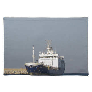 Cargo Ship Zephyros Entering Harbor Placemat