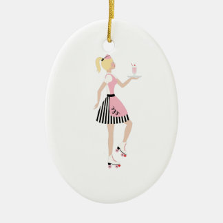 Carhop Girl Christmas Ornament