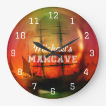 Caribbean Beach Mancave Beer Large Clock