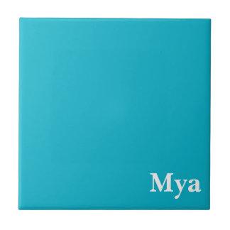Caribbean Blue Customizable Small Square Tile