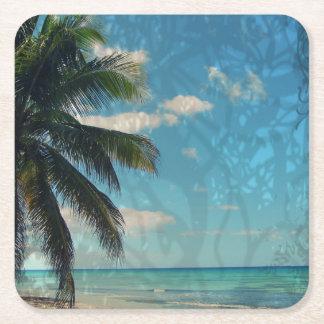 Caribbean Blue Square Paper Coaster