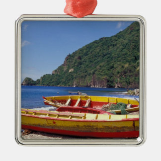 Caribbean, BWI, St. Lucia, Sailboats, Soufriere. Silver-Colored Square Decoration