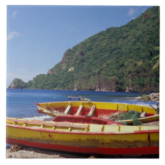 Caribbean, BWI, St. Lucia, Sailboats, Soufriere. Large Square Tile
