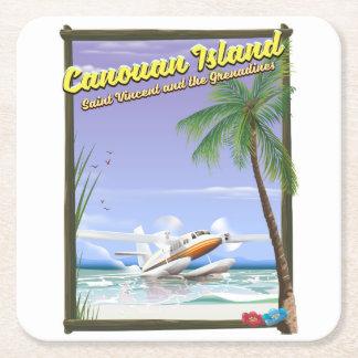 Caribbean, Canouan islands paradise poster. Square Paper Coaster