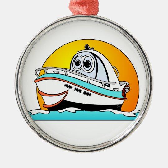 Caribbean Cartoon Motor Boat Christmas Ornament