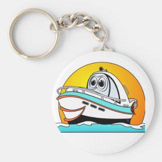 Caribbean Cartoon Motor Boat Key Ring